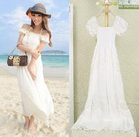 Summer tube top white cotton dress sexy strapless cutout female short-sleeve dress bohemia dress beach resort