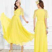 Plus size clothing one-piece dress yellow lace short-sleeve slim chiffon skirt bohemia elegant long