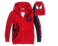 JP037  Wholesale 6pcs/lot Spring Autumn Children Outerwear baby boy Cartoon Spiderman embroidered hoodie jackets Kids Clothing