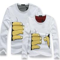 2014 Fashion cotton Brand white gray long sleeve men t-shirt print 3d hand harajuku punk plus size t shirt tops unisex 8692