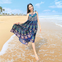 Free Shipping Fashion Slim Chiffon Spaghetti Strap Full Dress Bohemia Women's Beach One-Piece Dress
