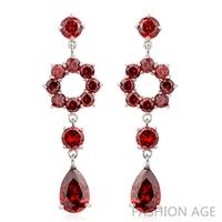 2014 New design Swiss Zircon Dangle Earrings exaggerated Austrian Crystal women's Drop earrings Platinum plated earrings(FE-128)