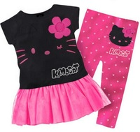 2014 New summer baby kids girls clothing set short t shirt dress pants leggings,hello kitty children sets infanti free shipping