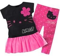 2014 New summer baby kids girls clothing set short t shirt dress pants leggings,hello kitty children sets infanti free shipping
