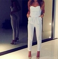 2014 NEW womens summer fashion celebrities strapless Overalls Sexy V Strap Playsuit Novelty Bodycon Jumpsuits slim fit bandage
