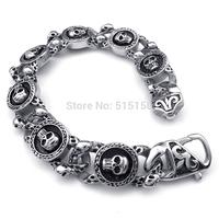 "8.66"" 15MM PUNK Biker Men's Skull Fashion Jewelry Links Charm Bracelet Stainless Steel Bangle New Arrive Gift"