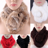 Women's Lady Rabbit Fur Collar Neck Wrap Girl Scarf  Shawl Men Scarves