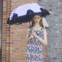 New 2014 chinese parasol umbrella rain women high quality anti-uv protection sunny and rainy black lace princess umbrellas beach
