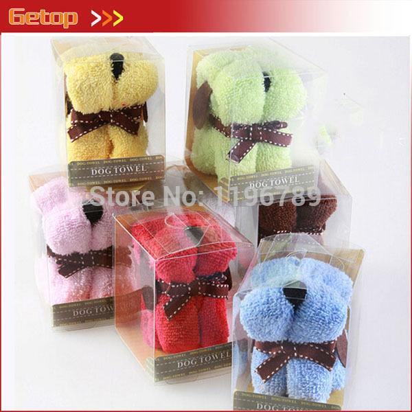 50pcs/lot 100% Cotton Creative Cartoon Small Dog Towel Cake Towel Cartoon Desgin Gift hand towel with PVC box FREE SHIPPING(China (Mainland))