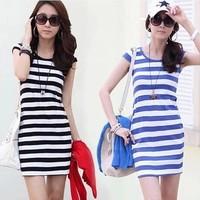 Free shipping!!! 2014 summer new arrival plus size xl xxl stripe summer dress for women