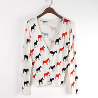 FS-2536 New Arrival Autumn 2014 V-Neck Animal Print Knitted Cardigan Sweaters For Women