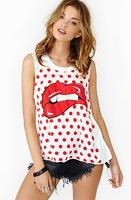 2014 Summer Hot new European style big red lips print dot female vest sleeveless T-shirt casual shirt women t-shirt XL
