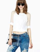 2014 Summer Hot new European and American mosaic mesh T-shirt casual short shirt women t-shirt XL
