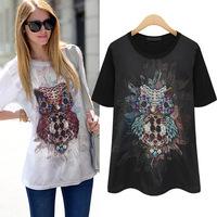2014 Hot Sales Summer New Arrival Lady T-shirts O-neck Print Women Tee Street Joker Sequined Cotton T-shirt 2 Colors S-XL