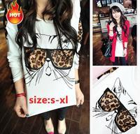 S-XL Free Shipping 2014 Fashion Trendy NaluLa Women Clothes Tops Tees T shirt Leopard Glasses Kitten T-shirts