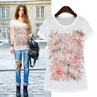 New Arrival Large size women Street Joker Flower printed T-shirt XL~3XL free shipping