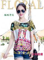 New Arrival Large size women Colorful Printed Rhinestone bat sleeve T-shirt XL~3XL free shipping