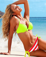 free shipping wholesale new 2014 style women stripe bikini sexy color matching swimsuit beach bath suit