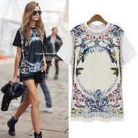 2014 Summer New Arrival Lady T-shirts O-neck Print  Women Tee Street Joker Cotton T-shirt 2 Colors S-XL free shipping
