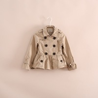 high quality fashion little girl double-breasted cotton trench jacket coats 2-8 years