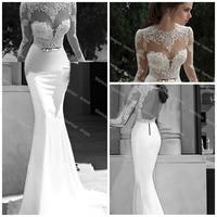 Real Brand Vestido De Festa High Neck Chiffon Prom white Evening Dress Lace Long Sleeve Floor-Length Lady Skirt Backless Sheath