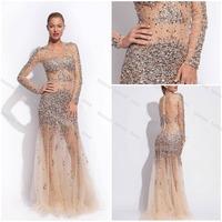 Sheer Glamorous 2014 Sexy Sheath O Neck Long Sleeve Sequins Beads Crystal Rhinestone Long Prom Nude Evening Dress Birthday