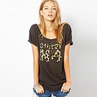2014 Summer Hot new European and American street casual short-sleeved T-shirt casual letter leopard shirt women t-shirt XL