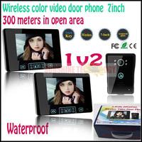 "Home Security 2.4G Wireless Video Door Phone Intercom Doorbell with 7""LCD Monitor+Rainproof camera Wholesale & Retails 1v2"