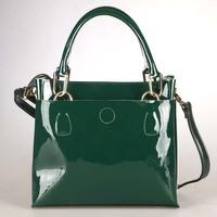 Luxury Handbag Genuine Leather Women Handbag Candy Color Solid OL Messenger Bag Patent Face lady Bag B072