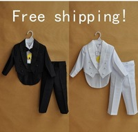 Free shipping new  kids tuxedo for boy suit child clothing black or White 5 pcs/ set (size 1-4 Age)