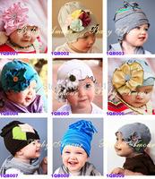 Free Shipping 5pcs/lot 100% Cotton Baby girl flower cap Spring Autumn winter infant cotton hat toddler beanie kids girl headgear