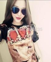 2014 GIV spring summer T shirt Fashion women/men galaxy Crown lion print short sleeve animal 3d t shirt shirts top tee plus size