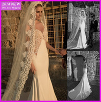 Sexy See Through With Sleeveless Mermaid Deep V Neck Backless With Lace Appliques Satin Wedding Dresses 2014 Bridal Gowns