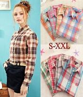 New Womens Shirts Turn Down Collar Plaid Shirt Long Sleeve Blouse M L XL XXL Sizes