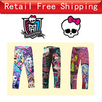 Retail 6-16T Monster High Leggings 3 Style Fall Brand Cotton Girls Legging Punk Children's Underwear Child Girls Casual Pant C20