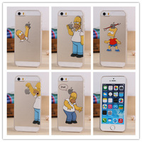 Top Quality fasion transparent Grind arenaceous hard case For apple iphone 5 5S case the homer simpson simpsons gasp logo PY