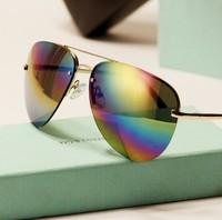 Multicolor reflective sunglasses big metal sunglasses men women sunglasses  brand designer 2014 new 0205