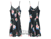 Lace stitching retro floral print adjustable strap chiffon dress