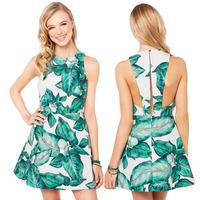 Summer Dress 2014 Digital Printing Rainforest Banana Leaf Back Slit A Buckle A-Line Dress SUN-9