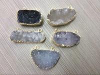 Mystic Quality Natural Agate Geode Druzy Gem stone Pendants 5pcs/lot 2loops fit necklace druzy