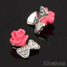 10 PCS Womens Zircon Alloy Bow 3D Nail Art Tips Stickers Decoration Jewelry DIY 06QI
