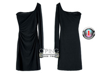 Manual nail bead waist drape sexy one shoulder long-sleeved dress