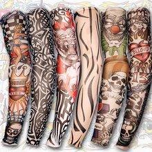 Free shipping! 6 PCS Nylon Stretchy Fake Tattoo UV basketball Arm Sleeves warmers manguito Stockings new 140 kinds of styles(China (Mainland))