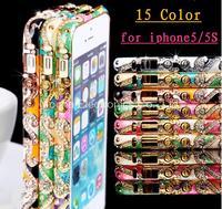 10pcs Luxury China Ceramic Design Delicate Metal Bumper for iPhone 5 5S Diamond Retro Palace Pattern Frame Bumper,Free Shipping