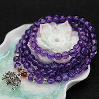 A334 Top qualiy fashion new beautiful natural purple crystal bead women multi-layer bracelet elephant jewelry free shipping
