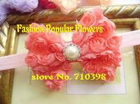 New Baby Girl Headdress Chiffon Rose Flower Bow DIY Headband Hair Accessories Baby Girls Headbands Pearl rhinestone button