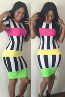 Women Dress Summer 2014 Chromatic Stripe Patchwork Short Sleeves Bodycon Bandage Dresses Fashion Sexy Clothing Club Dress