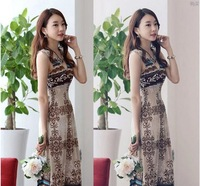 Thin holiday elegance large size harness dress female summer bohemian dress sexy V-neck beach dress