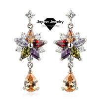 2014 New fashion Joyme Brand AAA Quality Zirconia Dangle Earrings Silver Plated Pendant earring Wedding jewelry