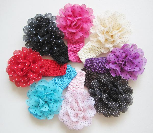 Freeshipping girls Dot chiffon flower hair ribbon headband 12pcs/lot children knitted flower ribbon flowers headband wholesale(China (Mainland))